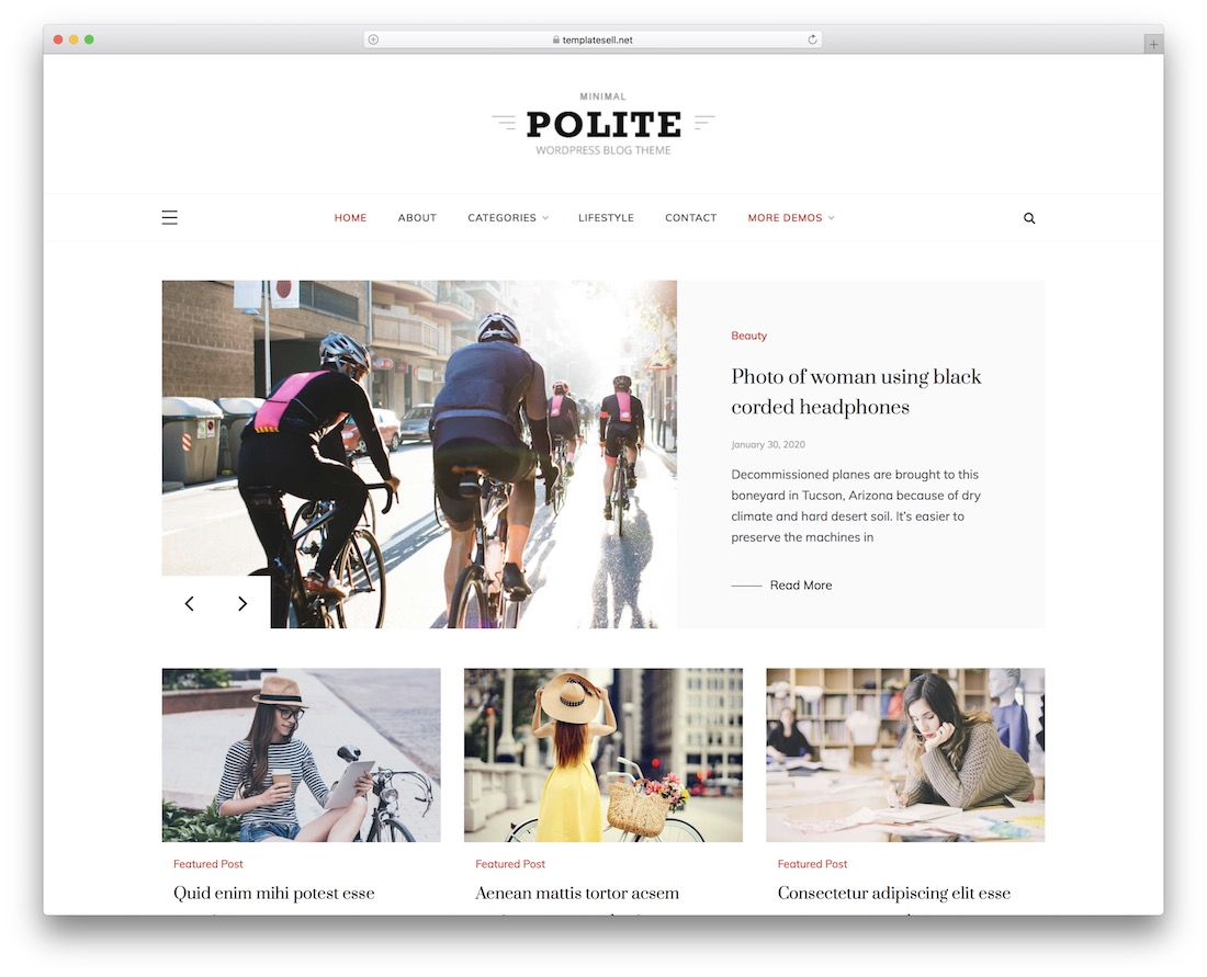 polite free wordpress theme with slider