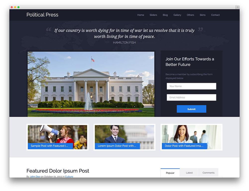 political press - theme for politicians