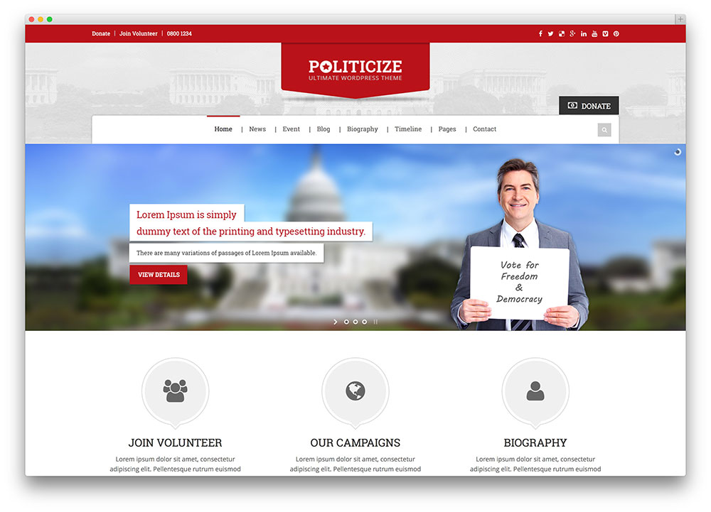 politicize - political party wordpress theme