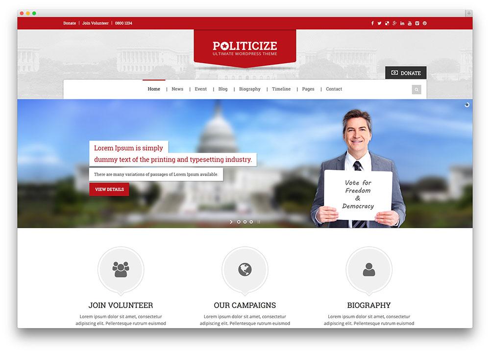 politicize - political party wordpress theme