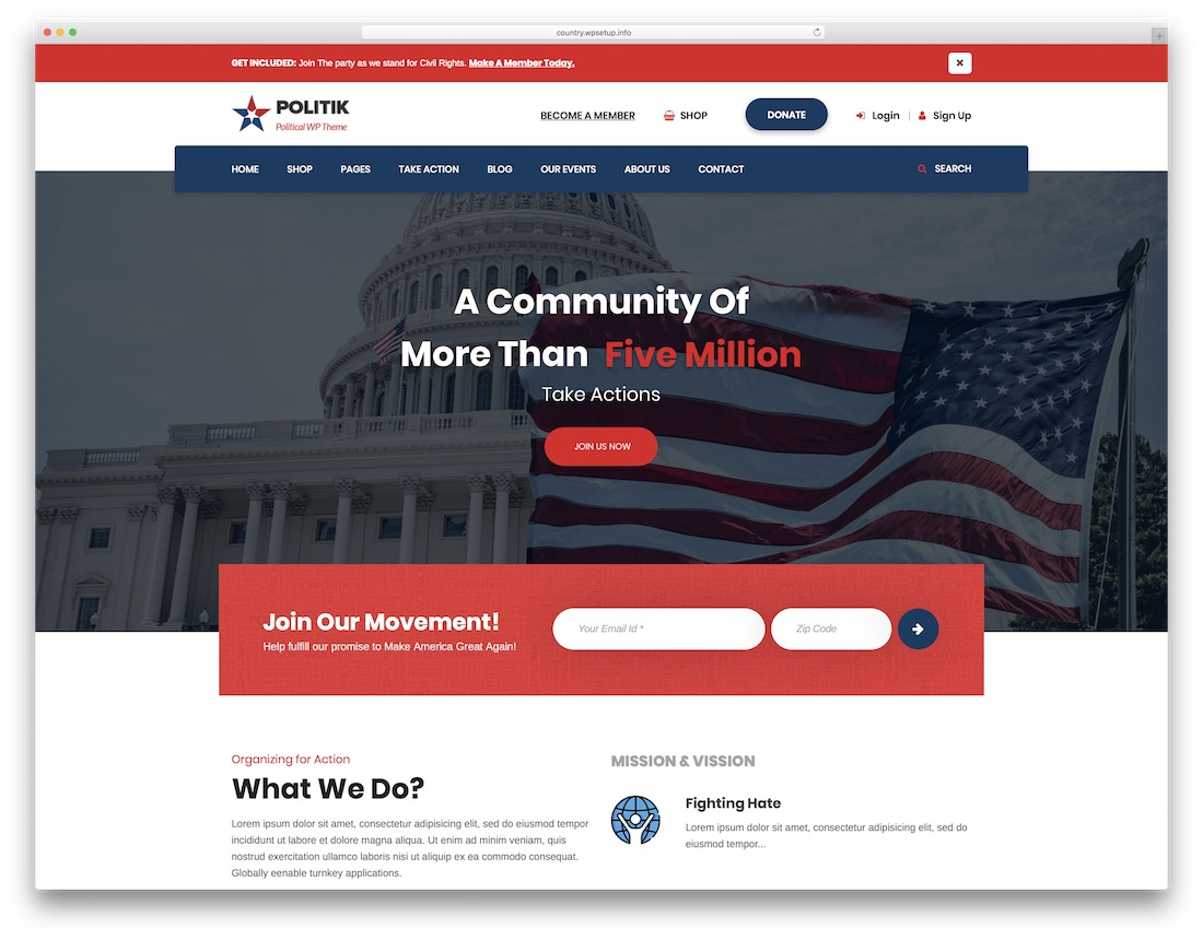 politik political wordpress theme for politicians
