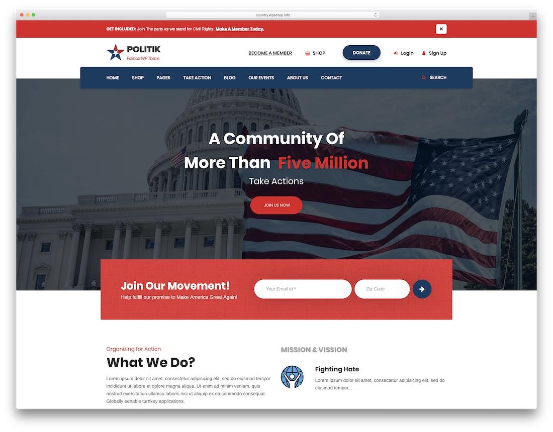 politik political wordpress theme for politicians