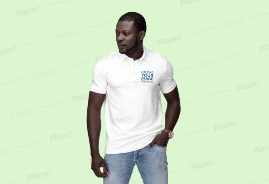 polo shirt mockup of a man at a studio