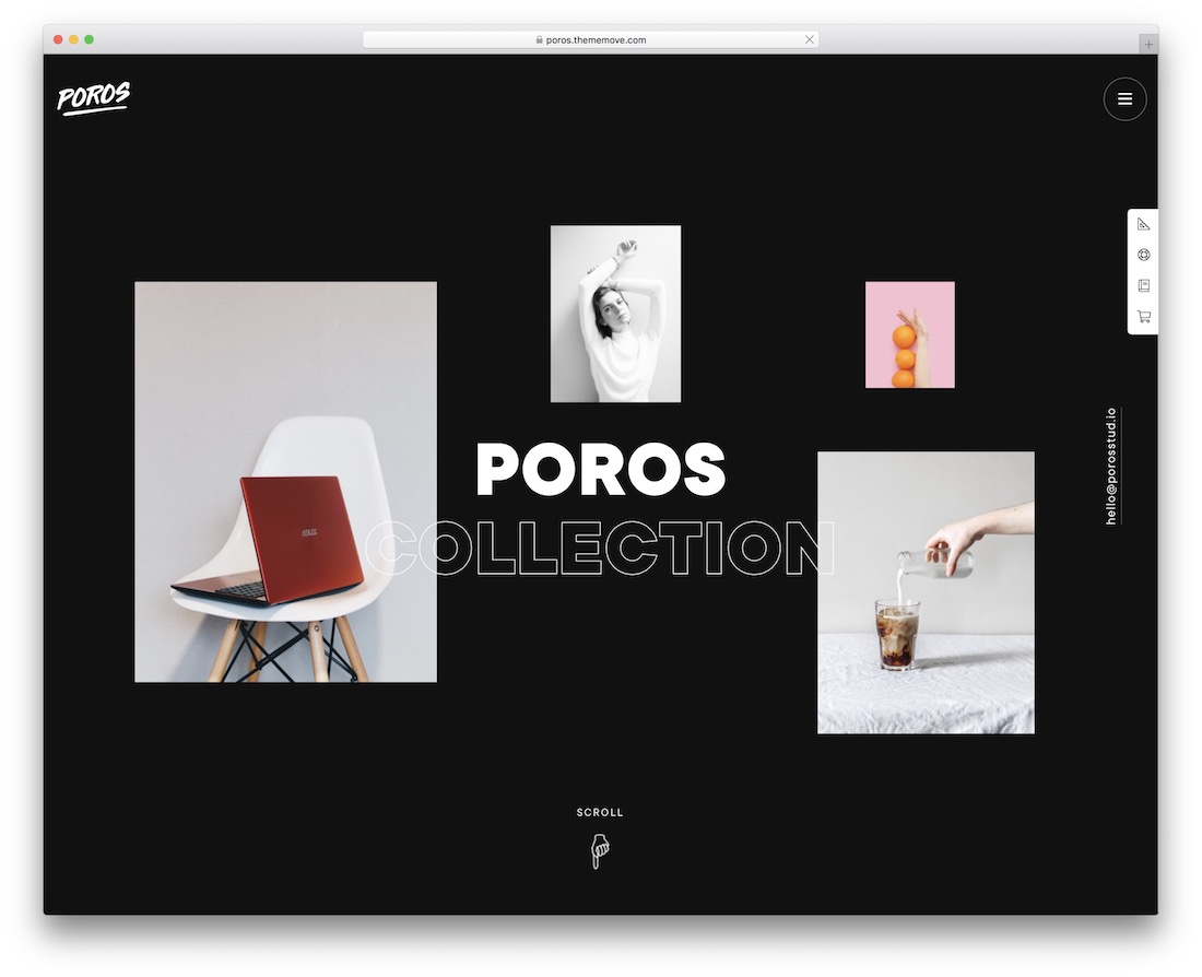 poros minimal website template