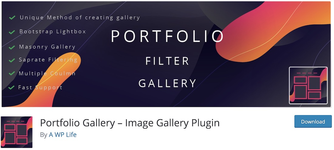 portfolio gallery free wordpress plugin