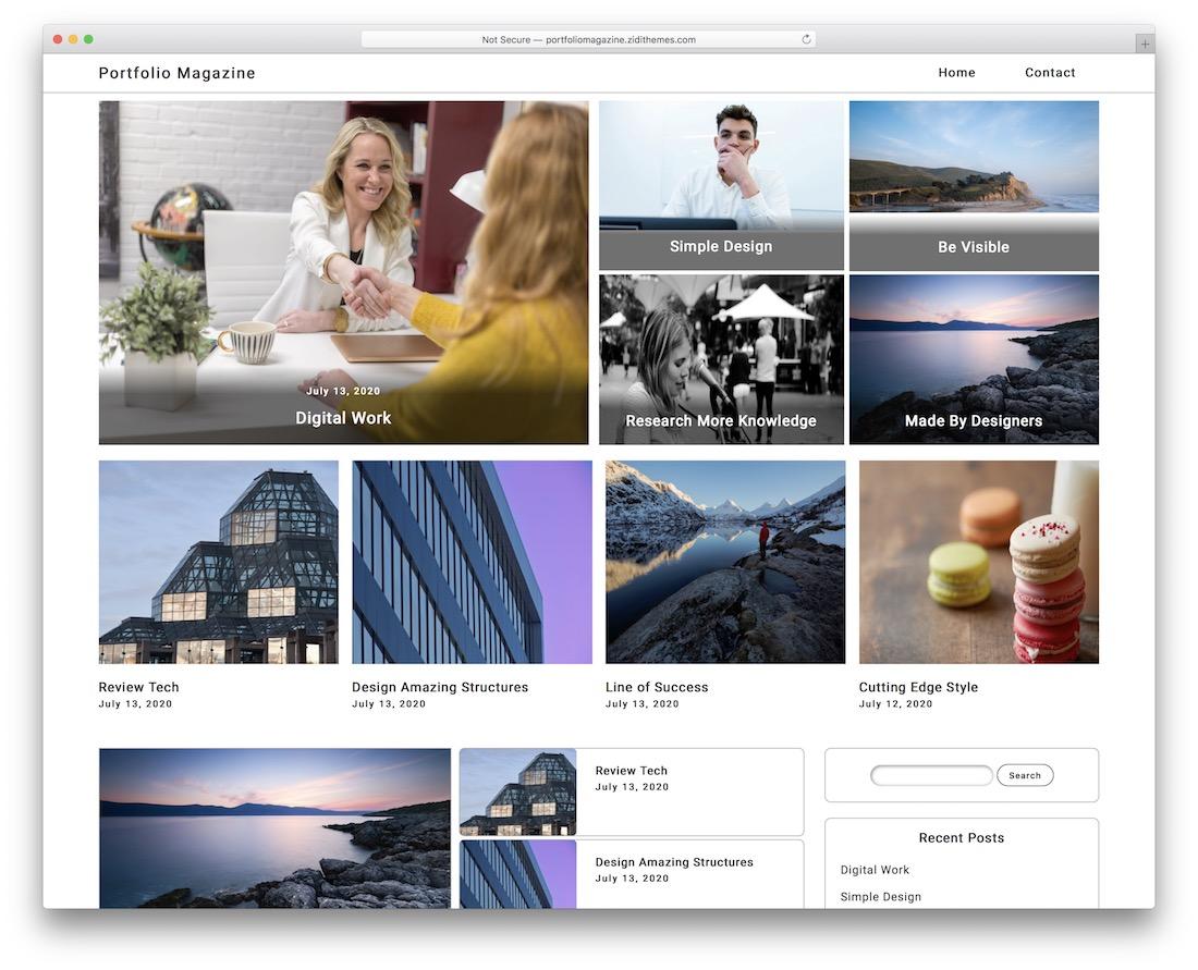 portfolio magazine free wordpress theme