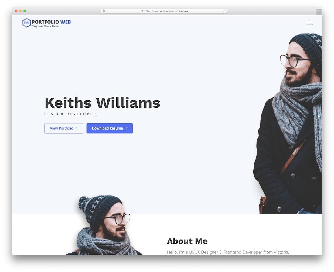 portfolio web free wordpress theme