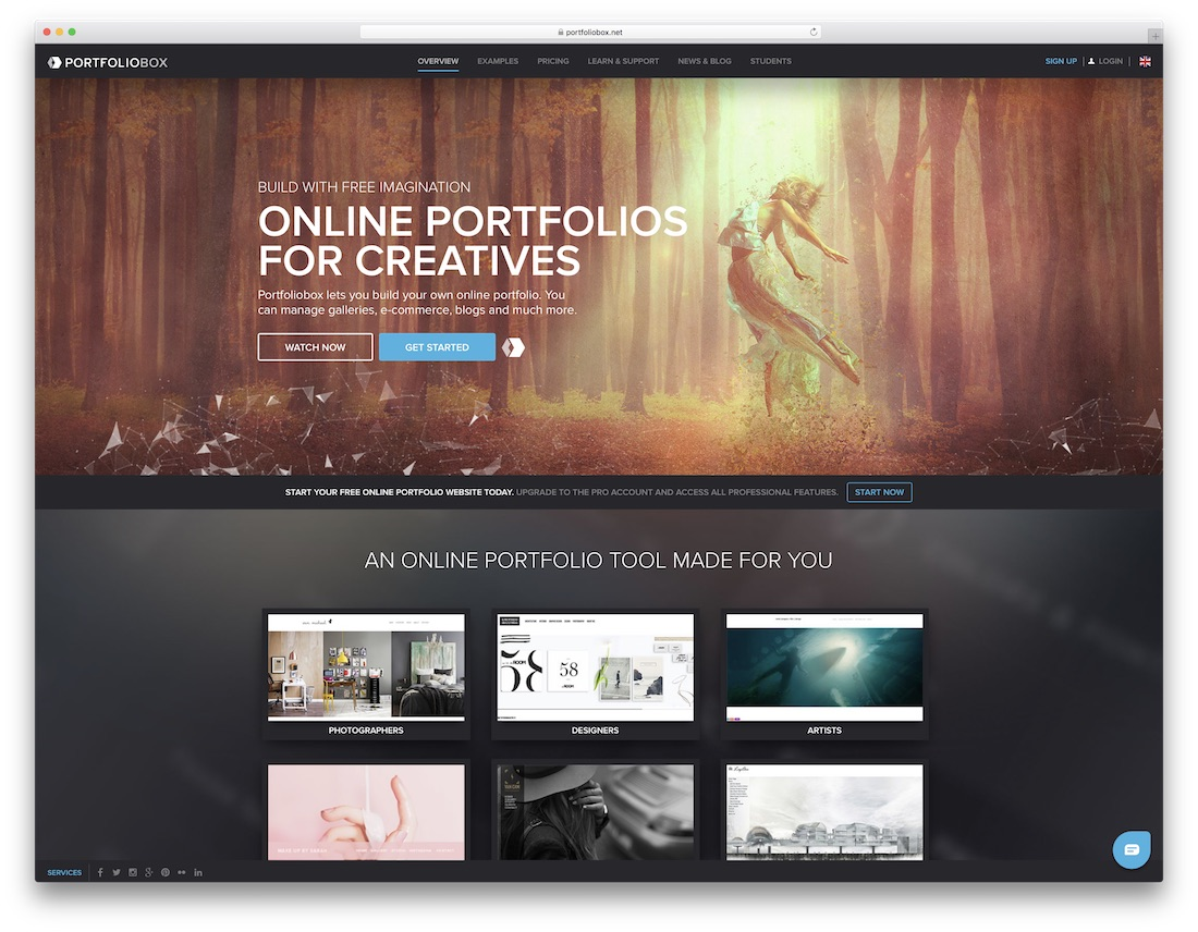 portfoliobox free photography website builder