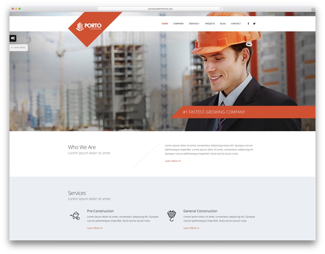 porto HTML construction company template