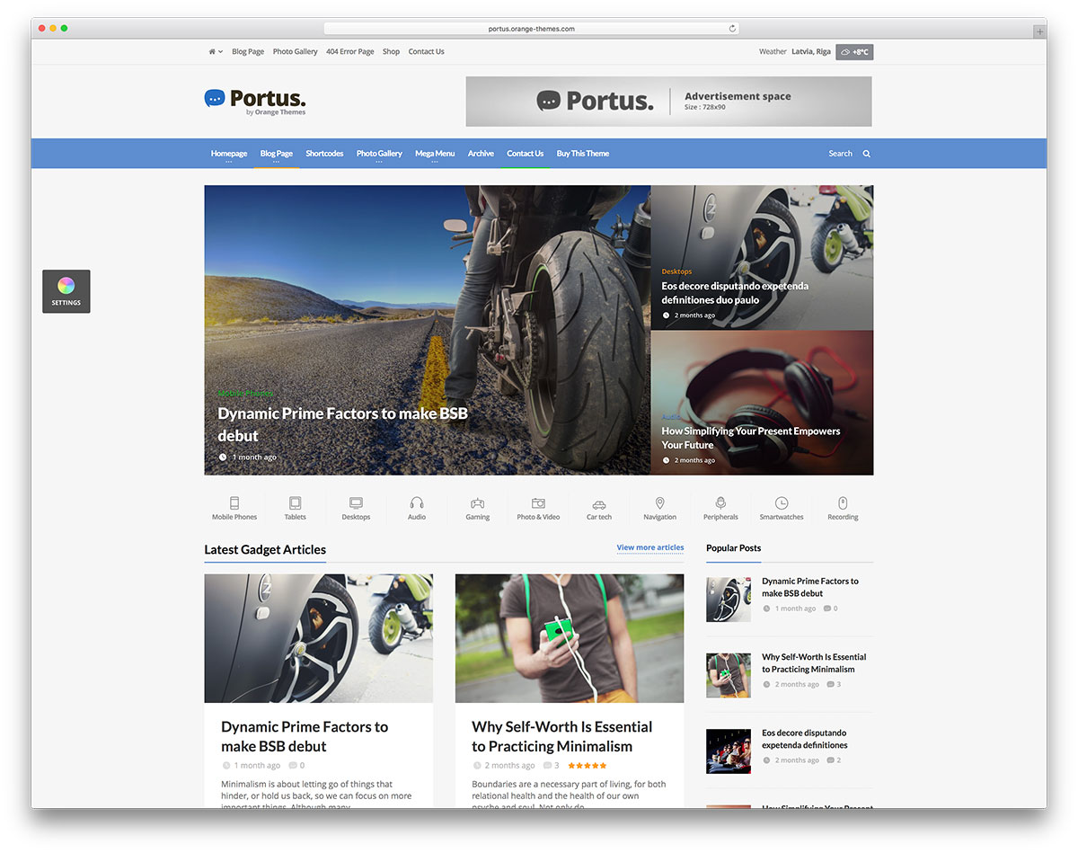 portus simple wordpress news website template