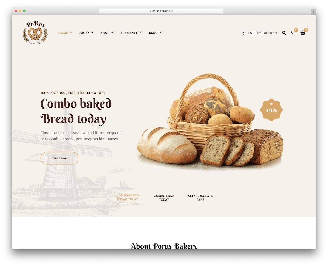 porus wordpress theme for bakeries