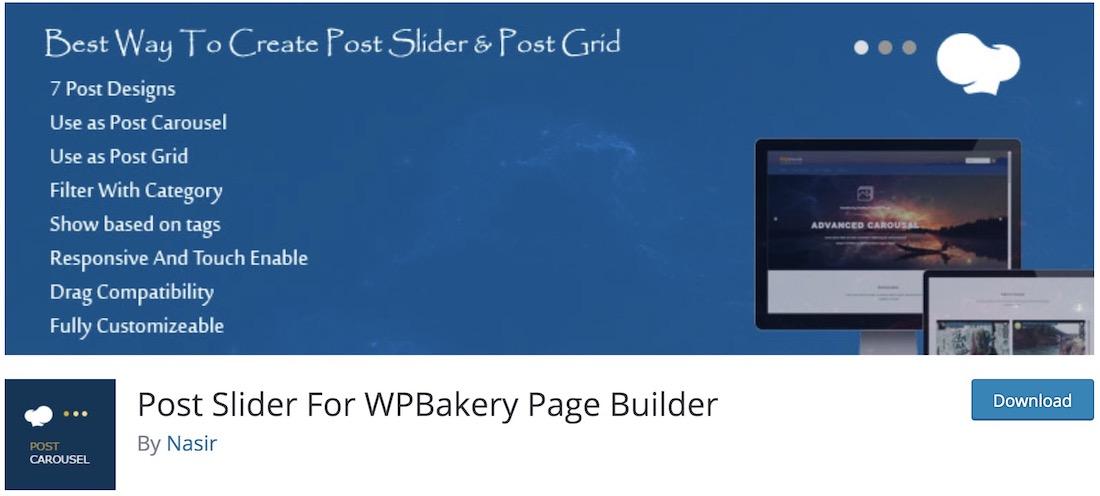 post carousel slider for wpbakery