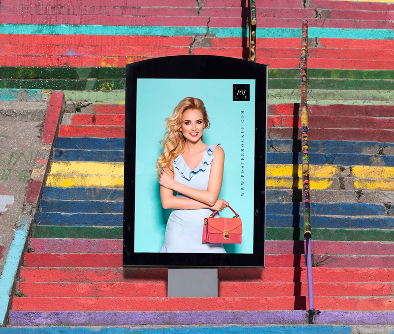 poster billboard on stairs mockup