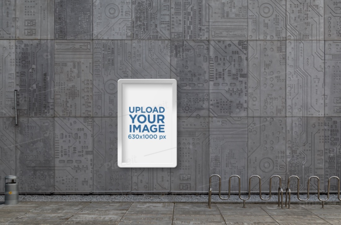 poster frame mockup featuring a futuristic looking building