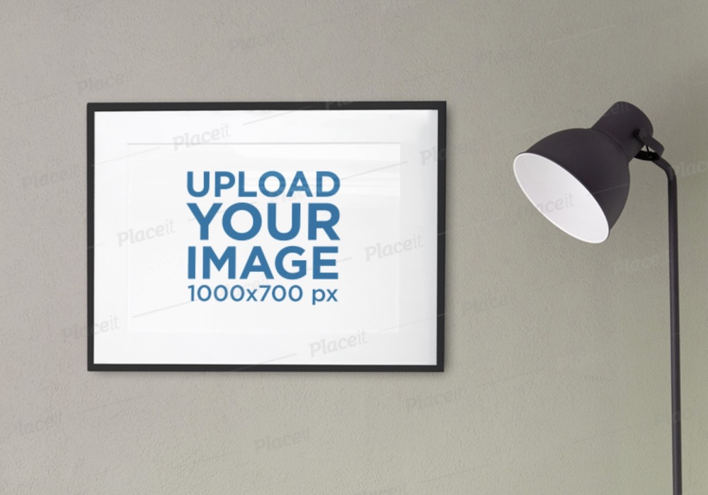 poster frame mockup featuring a modern floor lamp