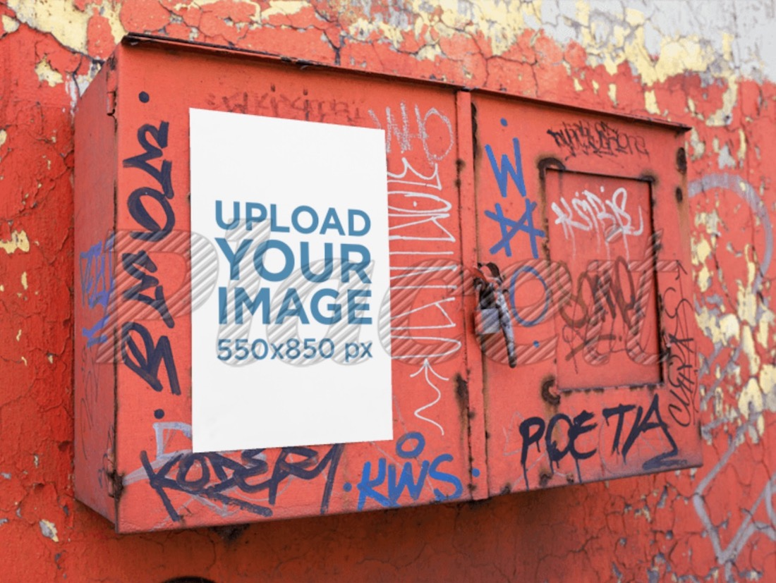 poster mockup on a red metal box with graffiti