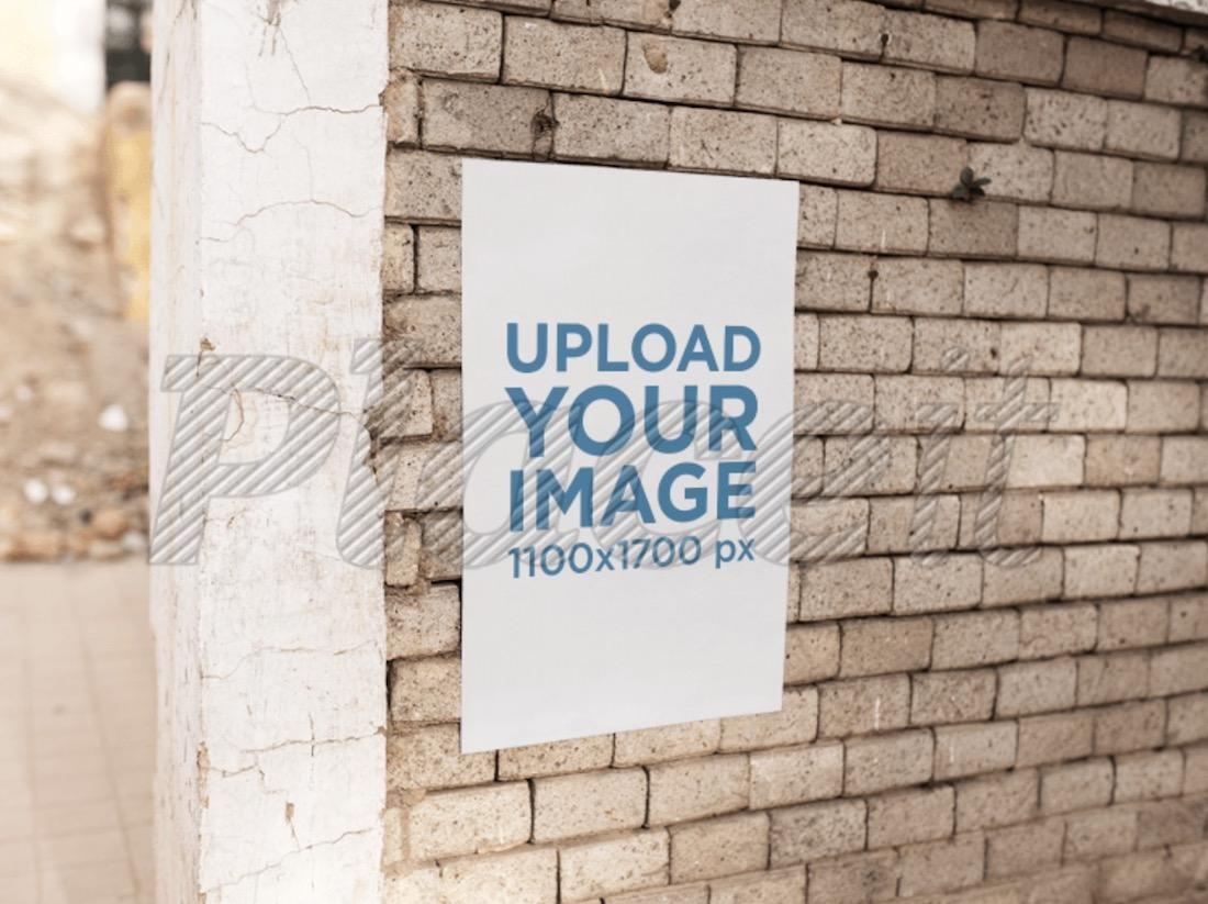 poster on a concrete bricks wall mockup
