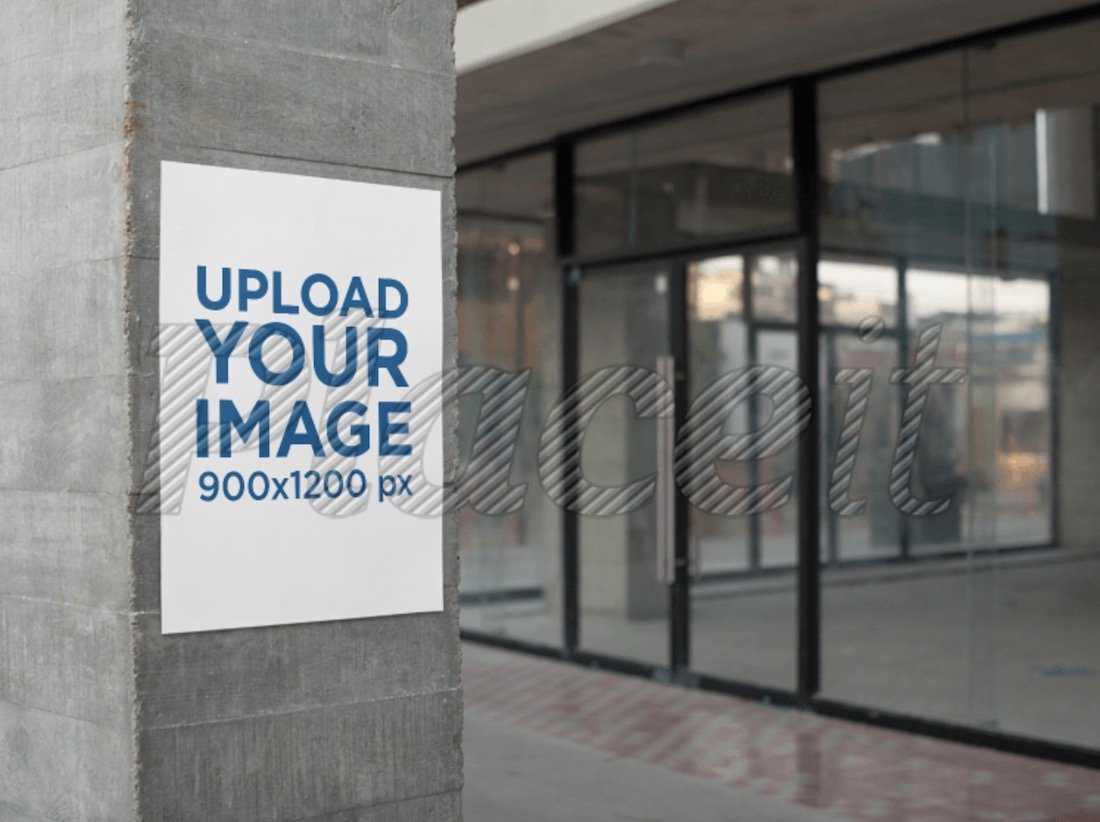 poster on a concrete column next to stores for rent mockup