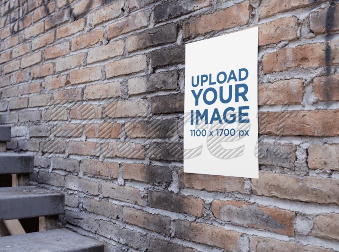 poster on an old bricks wall mockup