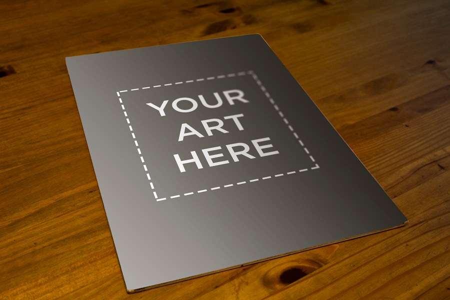 poster on wooden table mockup