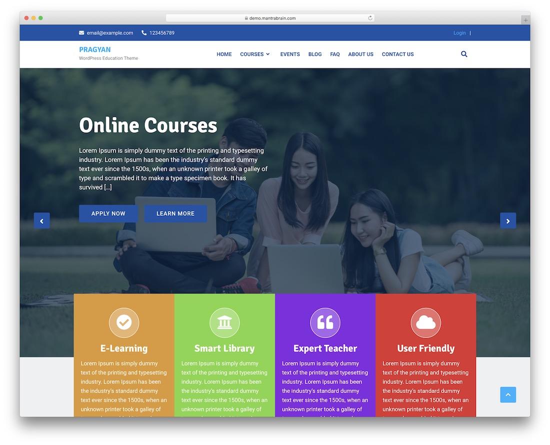pragyan free wordpress education theme