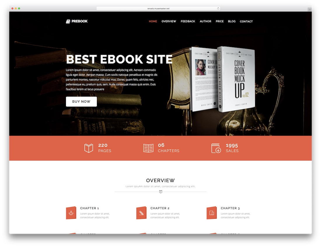prebook adobe muse landing page template