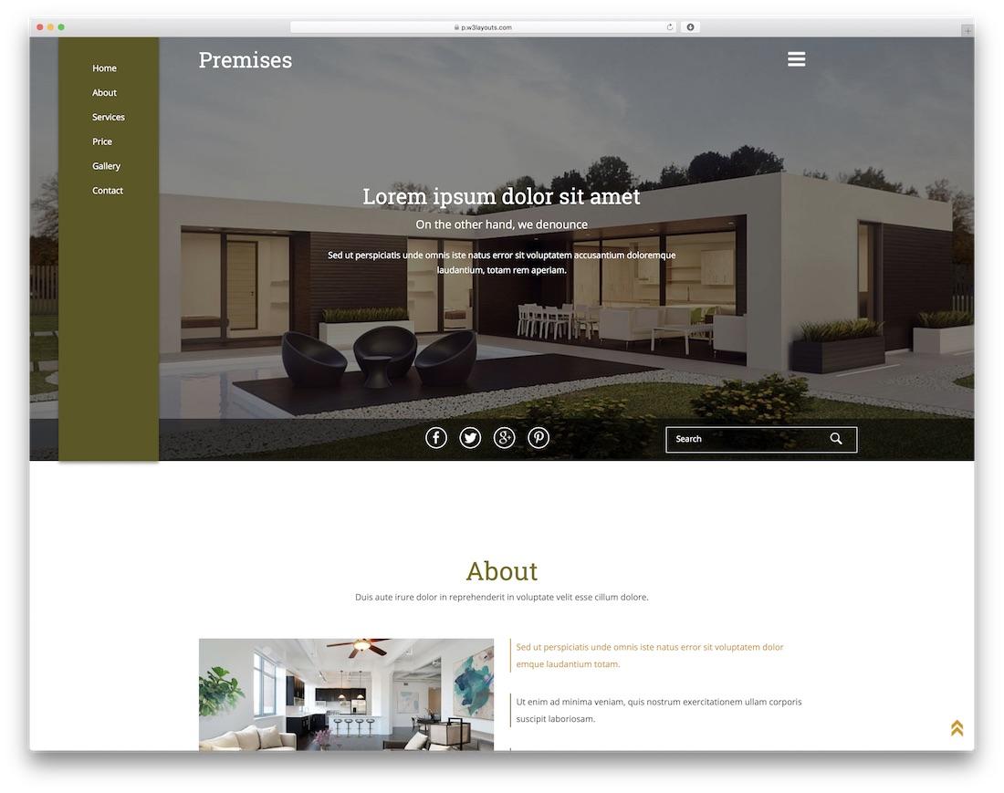 premises free construction website template
