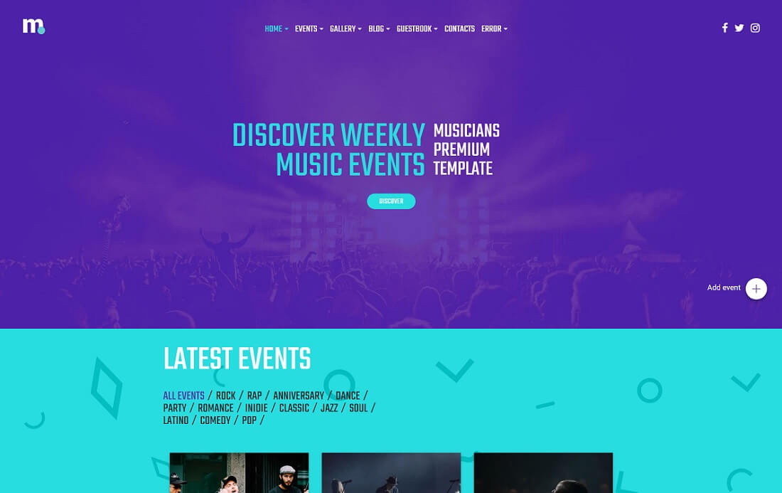 premium musician website template