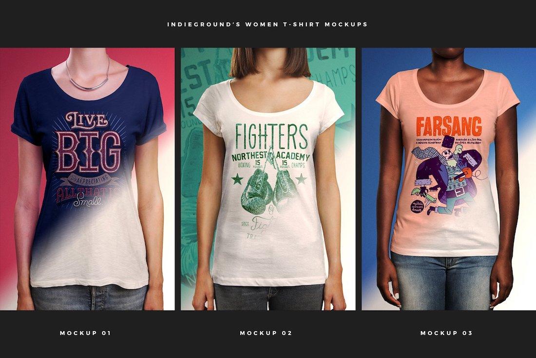 premium women t-shirt mockups