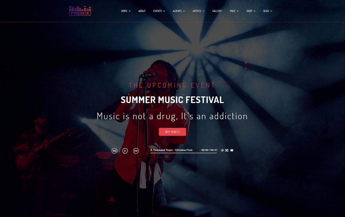 premix musician website template