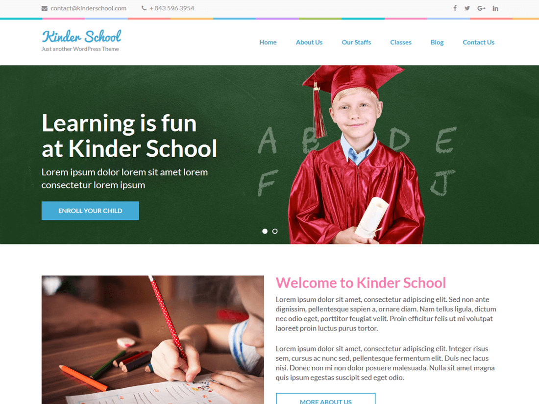 Preschool and Kindergarten WordPress Education Theme