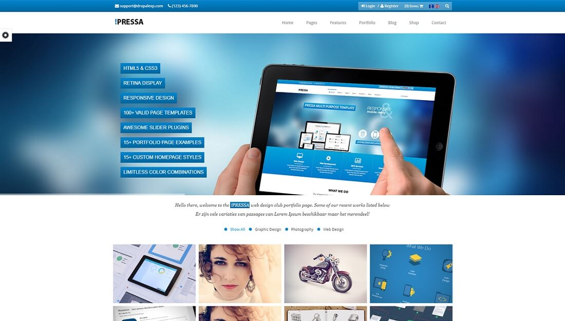 pressa drupal commerce template