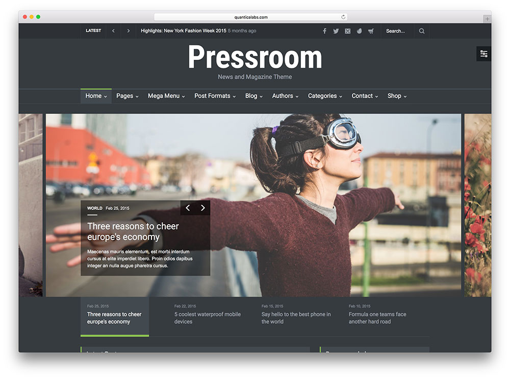 pressroom - dark magazine wordpress theme