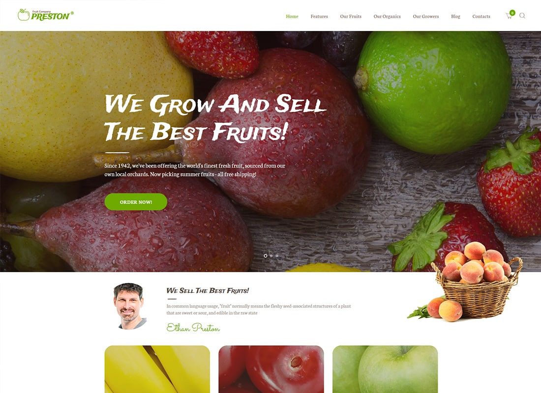 Preston | Fruit Company & Organic Farming WordPress Theme