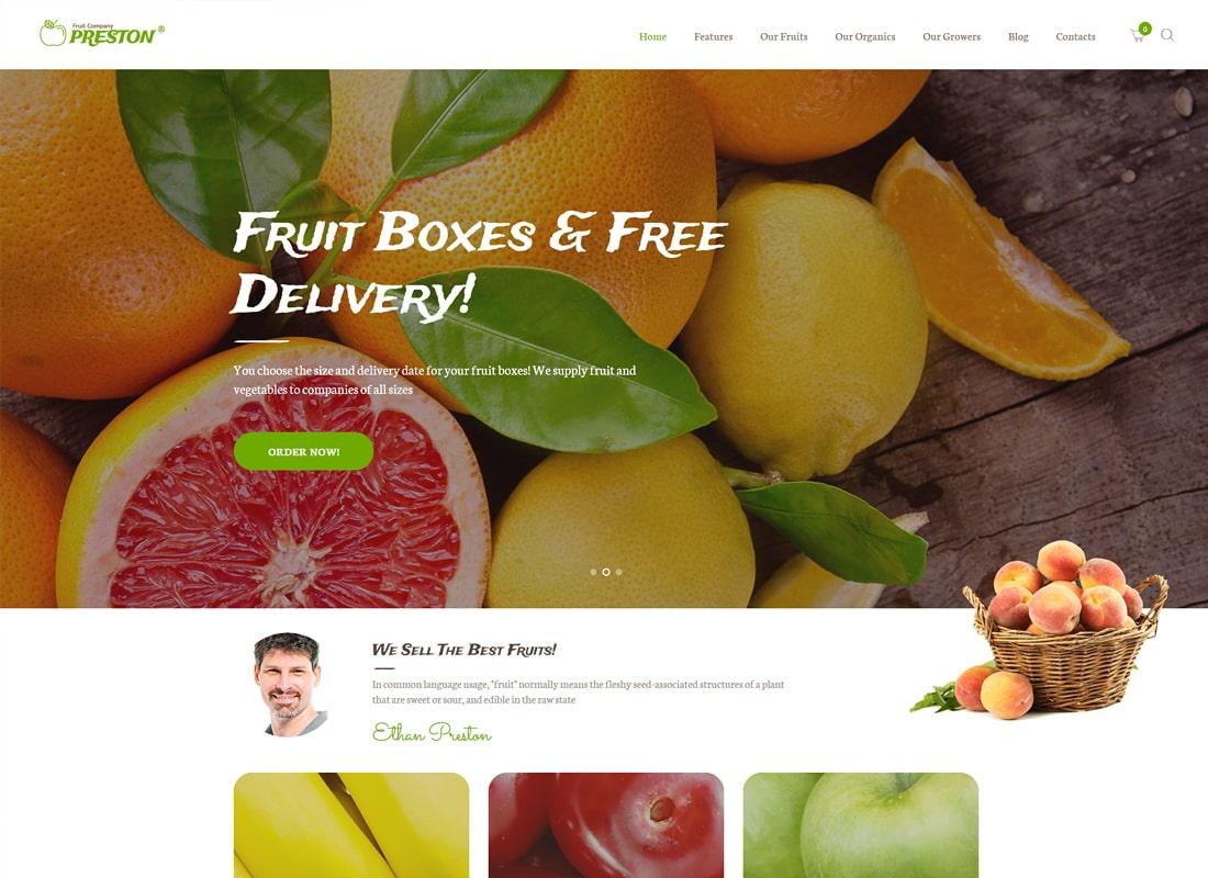 프레스톤 | 과일 회사 및 유기 농업 WordPress의 테마