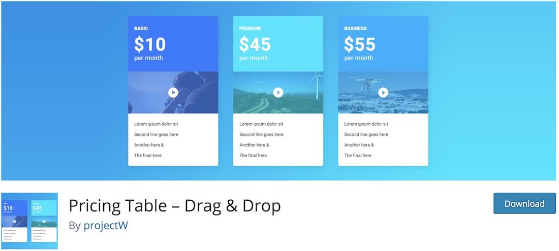 price table drag and drop wordpress plugin