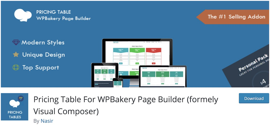 price table for wpbakery wordpress plugin