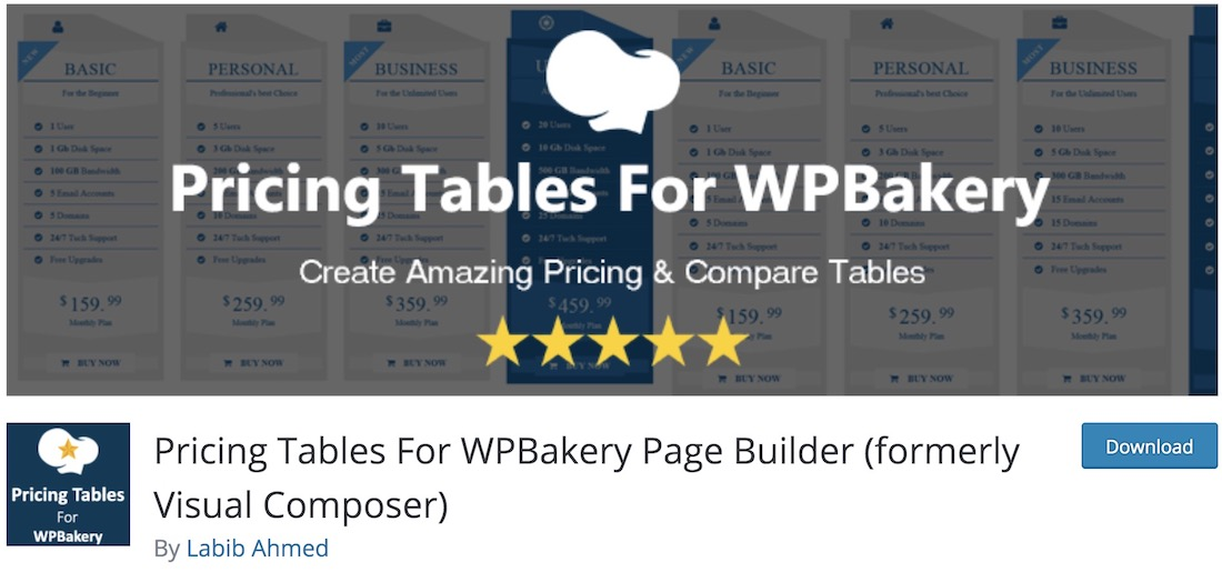 pricing tables for wpbakery