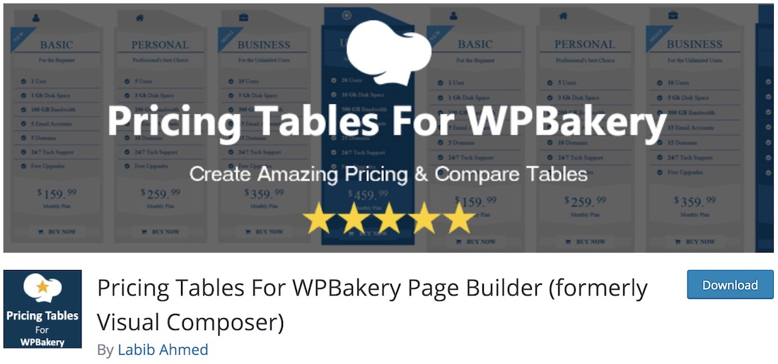 pricing tables wpbakery extension