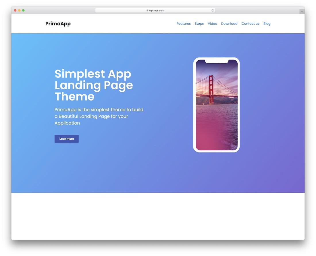 primaapp free landing page wordpress theme