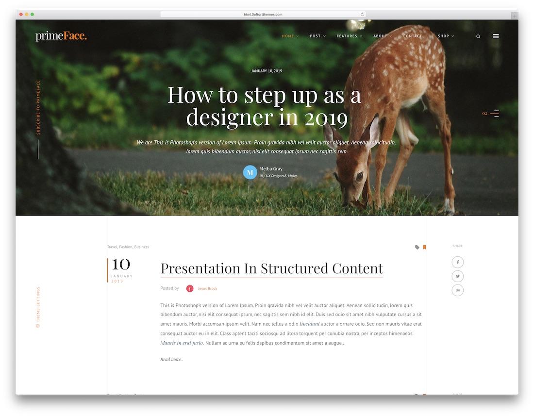 primeface news website template