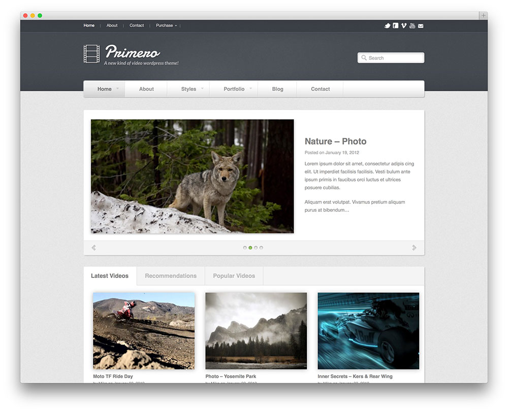 primero video hosting theme