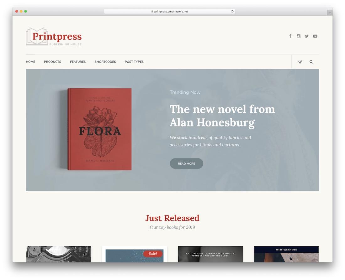printpress wordpress theme for bookstores libraries