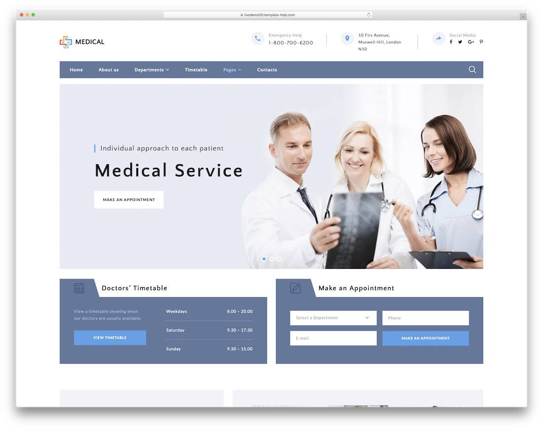 private medical center doctor website template