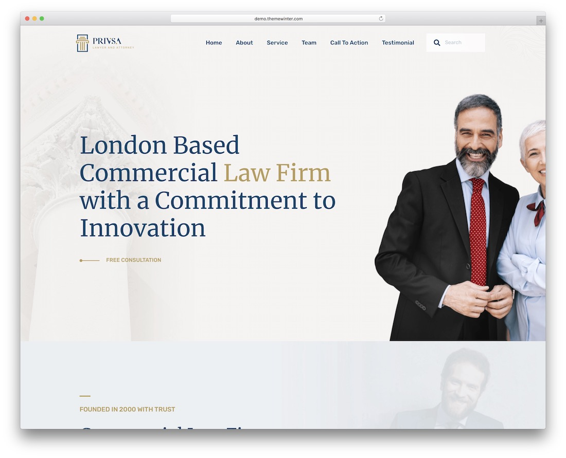 privsa attorney lawyer website template