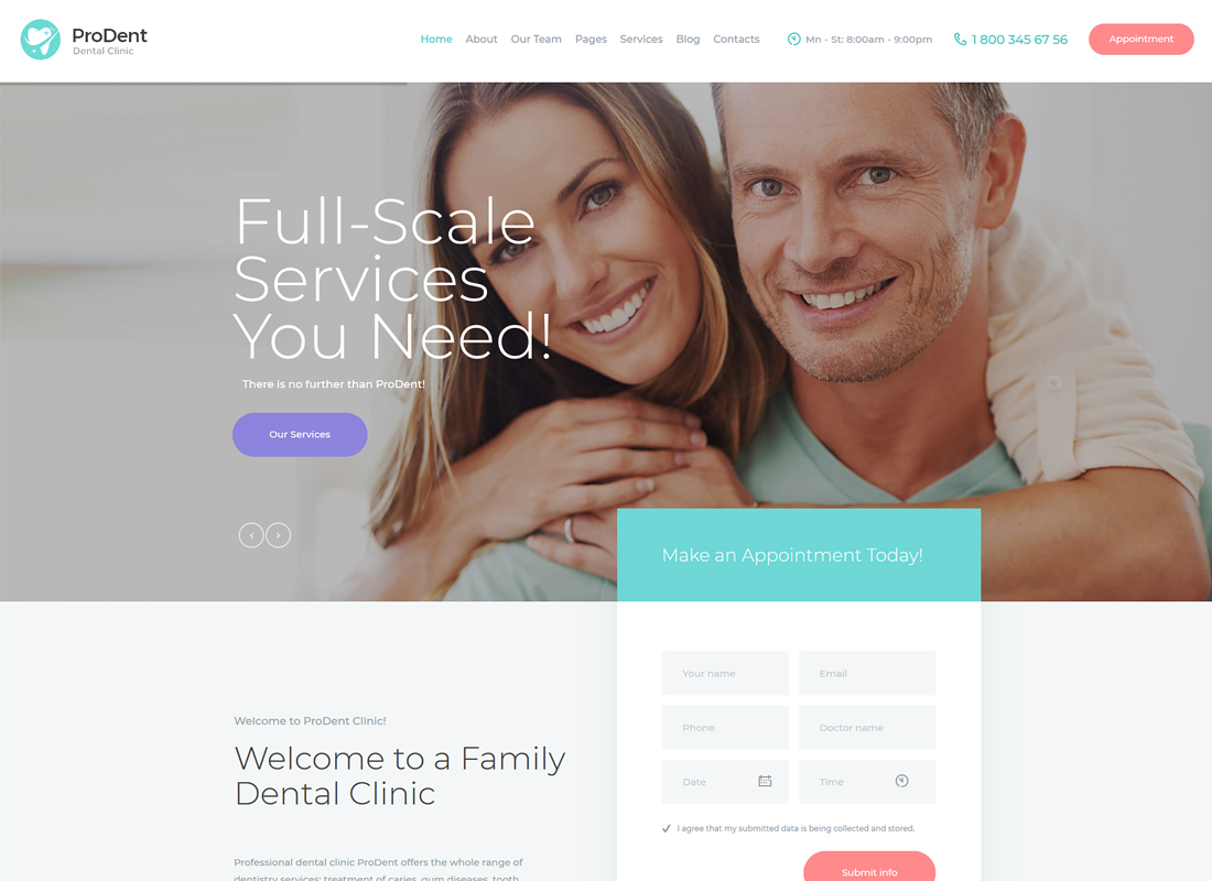 ProDent   Dental Clinic & Healthcare WordPress Theme