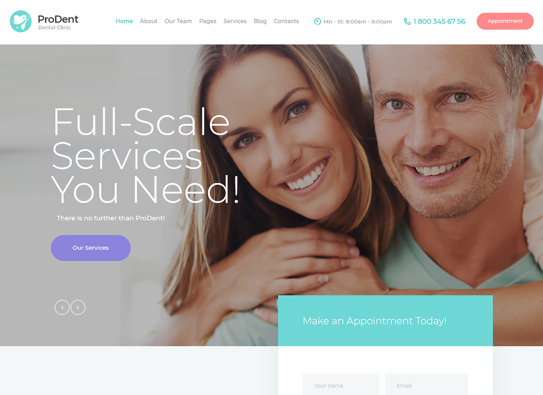ProDent - Dental Clinic & Healthcare WordPress Theme