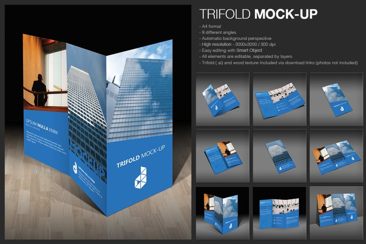 Professionally Designed Trifold Brochure Mockup