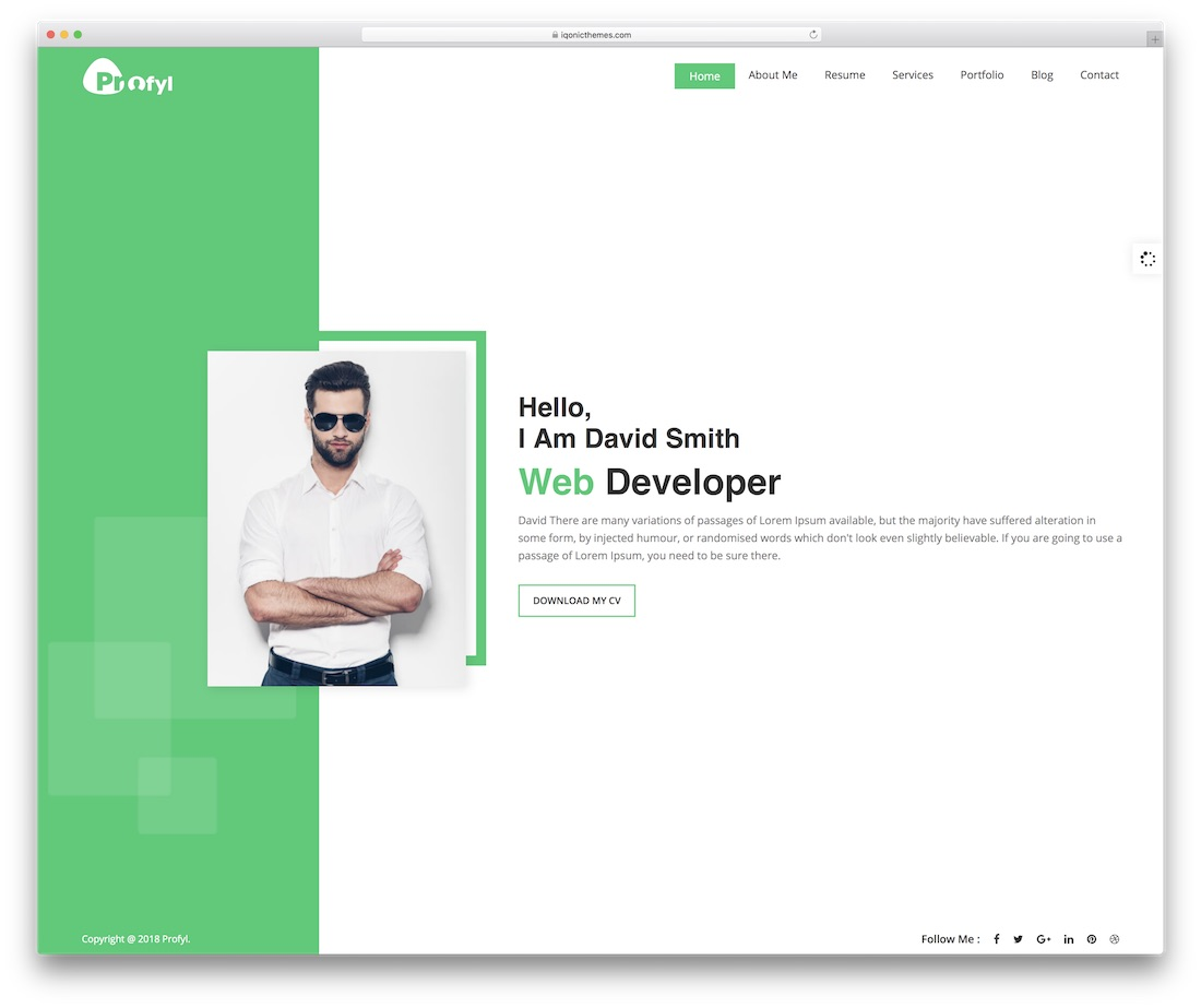 profyl personal website template