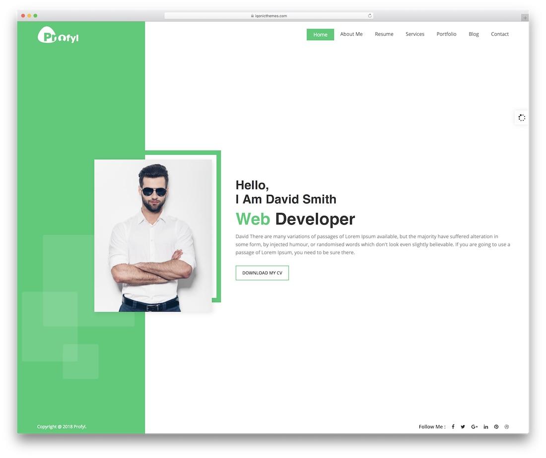 profyl personal website template